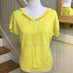 Anthropologie Moth Addie Sweater Tee Lemon Yellow